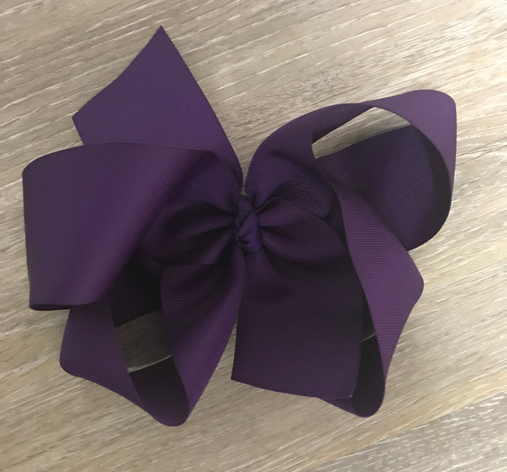 Large Solid Hair Bow in Purple Purple - Doodlebug's Children's Boutique