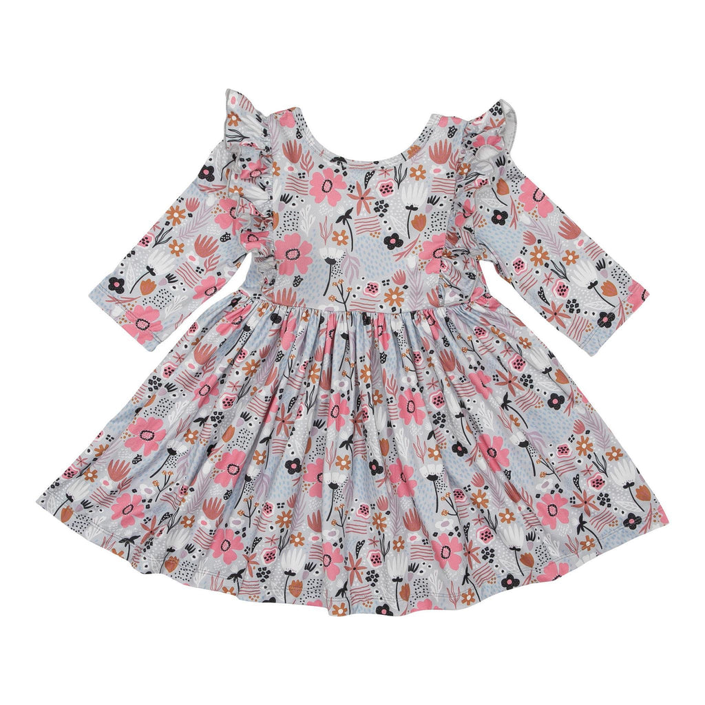 Sky Poppy Ruffle Twirl Dress  - Doodlebug's Children's Boutique