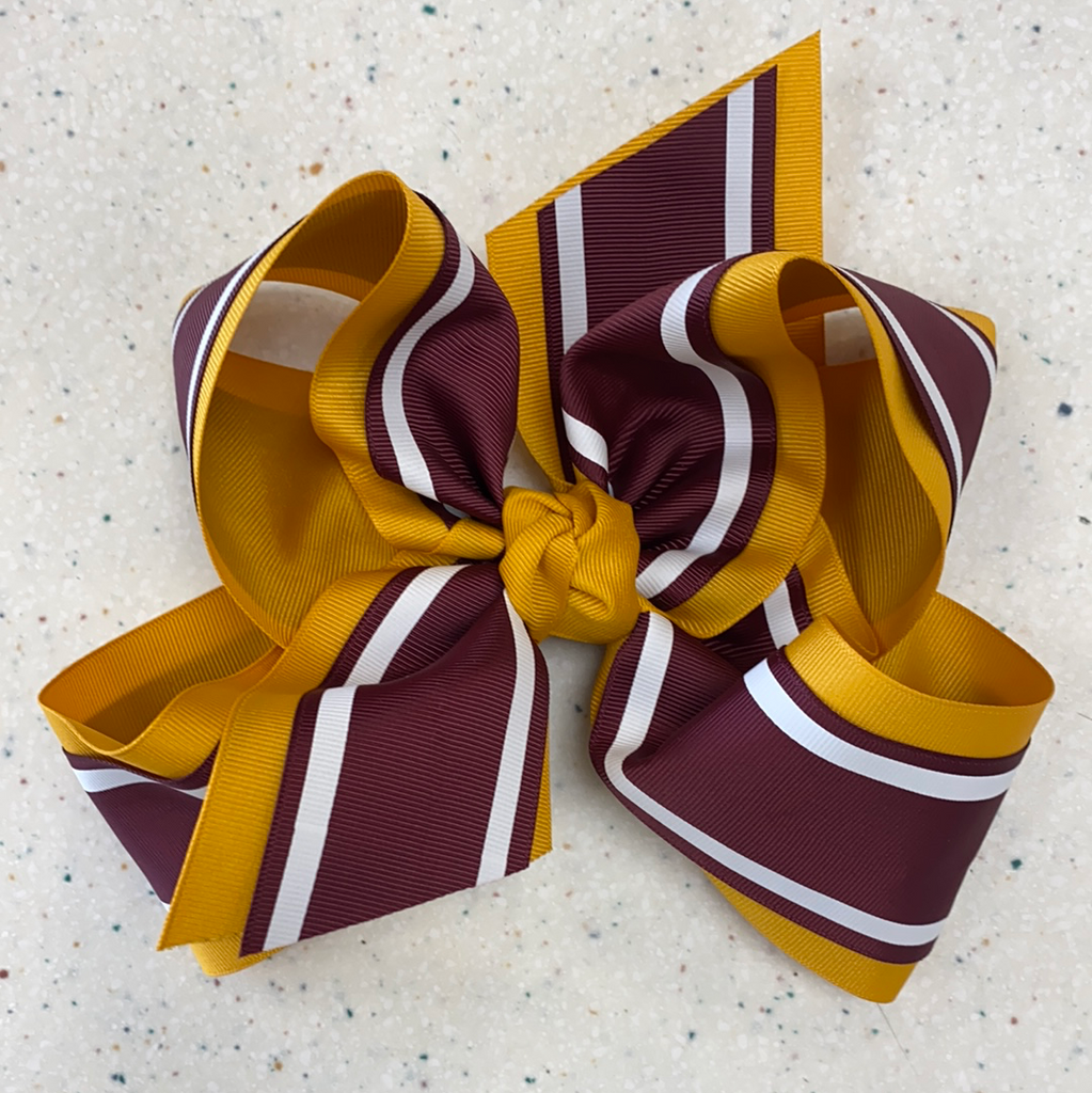 Maroon and Gold Layered Bow  - Doodlebug's Children's Boutique