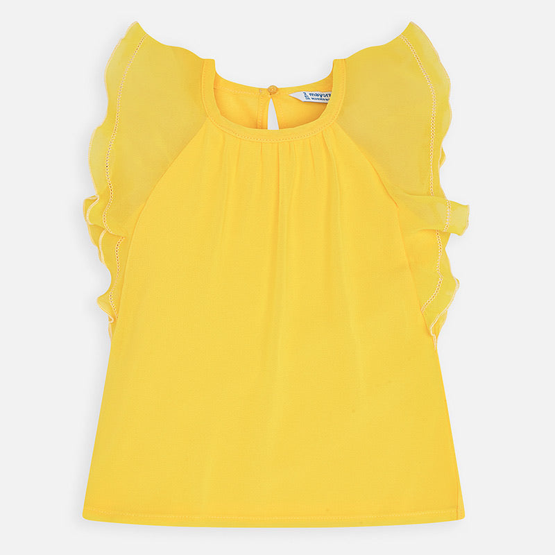 Yellow Flutter Sleeve Top  - Doodlebug's Children's Boutique