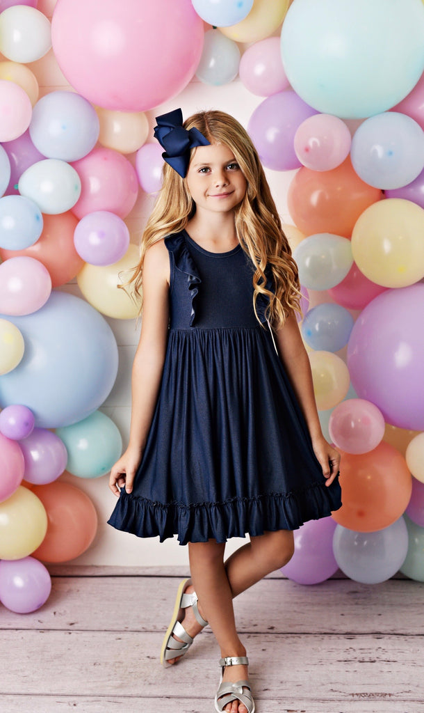 Denim Bella Essentials Dress  - Doodlebug's Children's Boutique