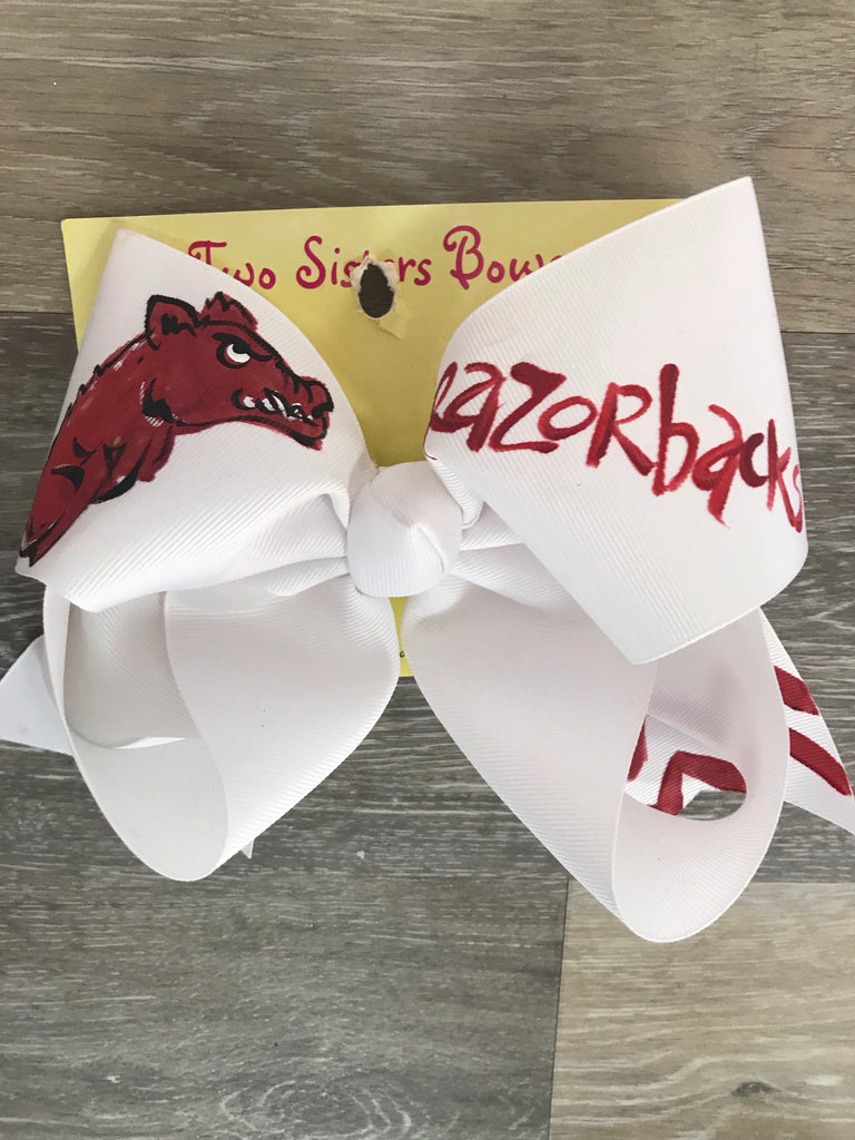 "Two Sisters Bow 8"" / White Razorback - Doodlebug's Children's Boutique"