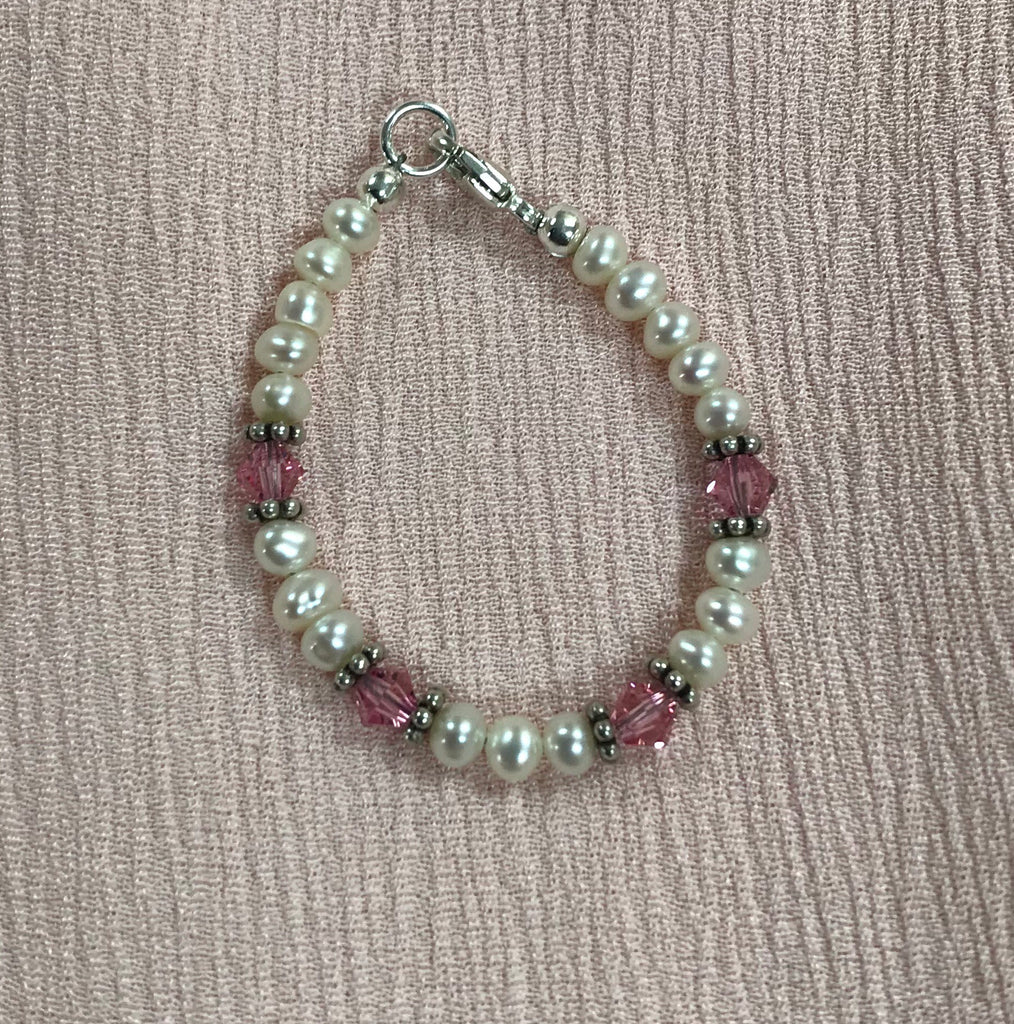 "Pearl and Pink Pearl Bracelet 4"" / Pearl & Pink - Doodlebug's Children's Boutique"
