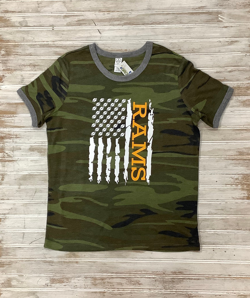 Rams Camo Football Flag Tee  - Doodlebug's Children's Boutique