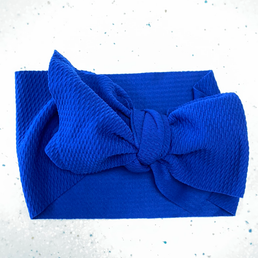 Waffle Headband Bow in Royal Blue  - Doodlebug's Children's Boutique