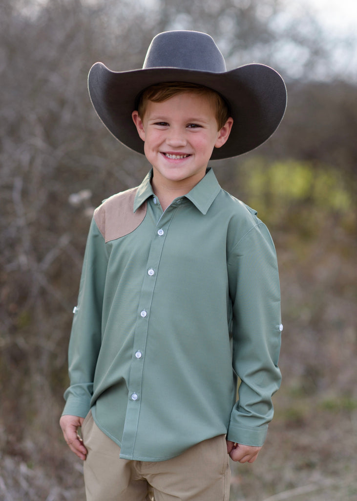 Sage and Khaki Long Sleeve Shirt  - Doodlebug's Children's Boutique