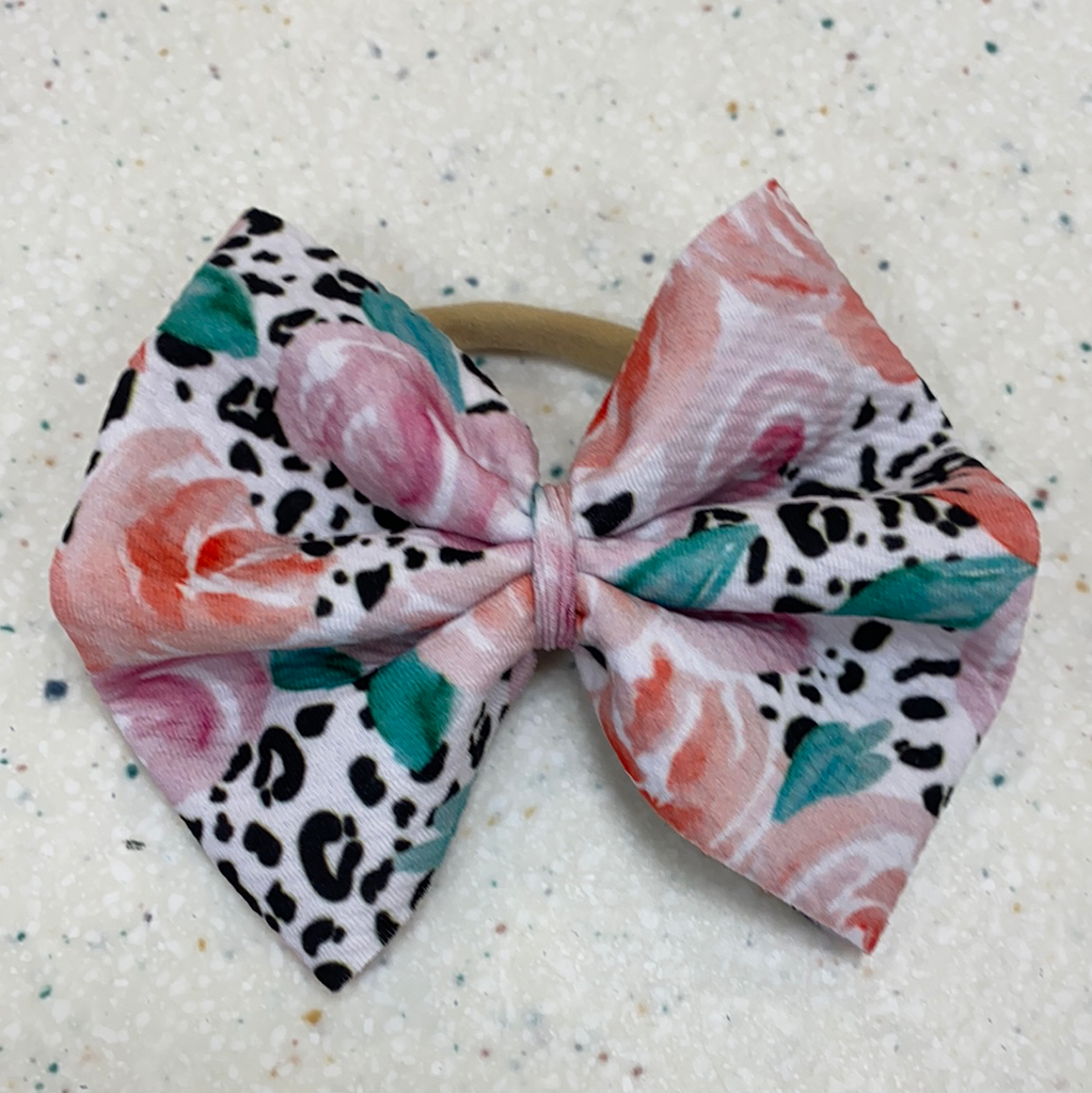 Floral Leopard Bow on Nylon  - Doodlebug's Children's Boutique