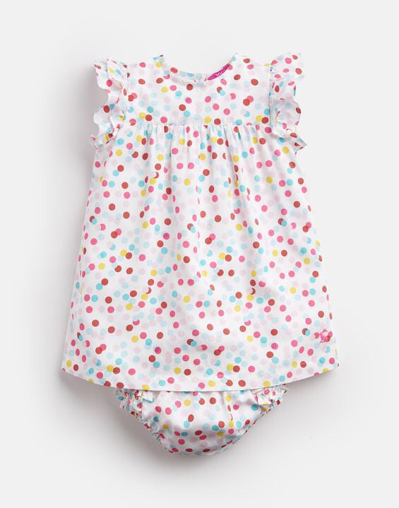 Joules White Polka Dot Dress Set