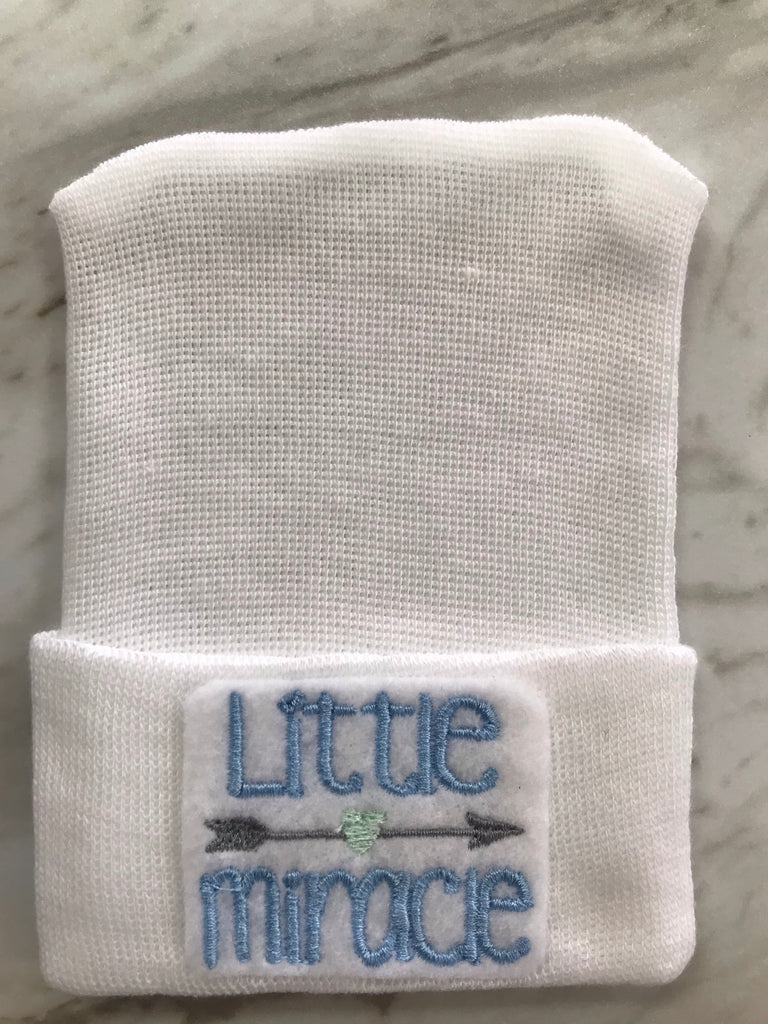 Cradle Cuties Newborn Hat for Boys White Little Miracle - Doodlebug's Children's Boutique