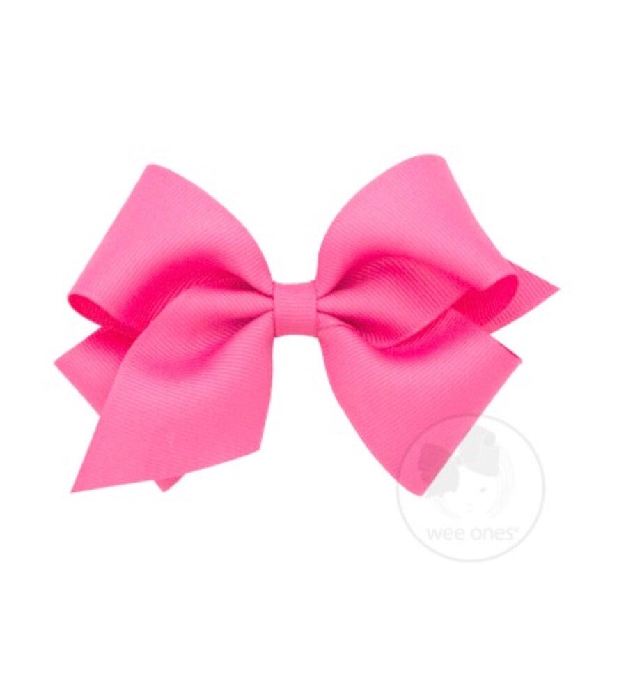Wee Ones Small Classic Bow Hot Pink - Doodlebug's Children's Boutique
