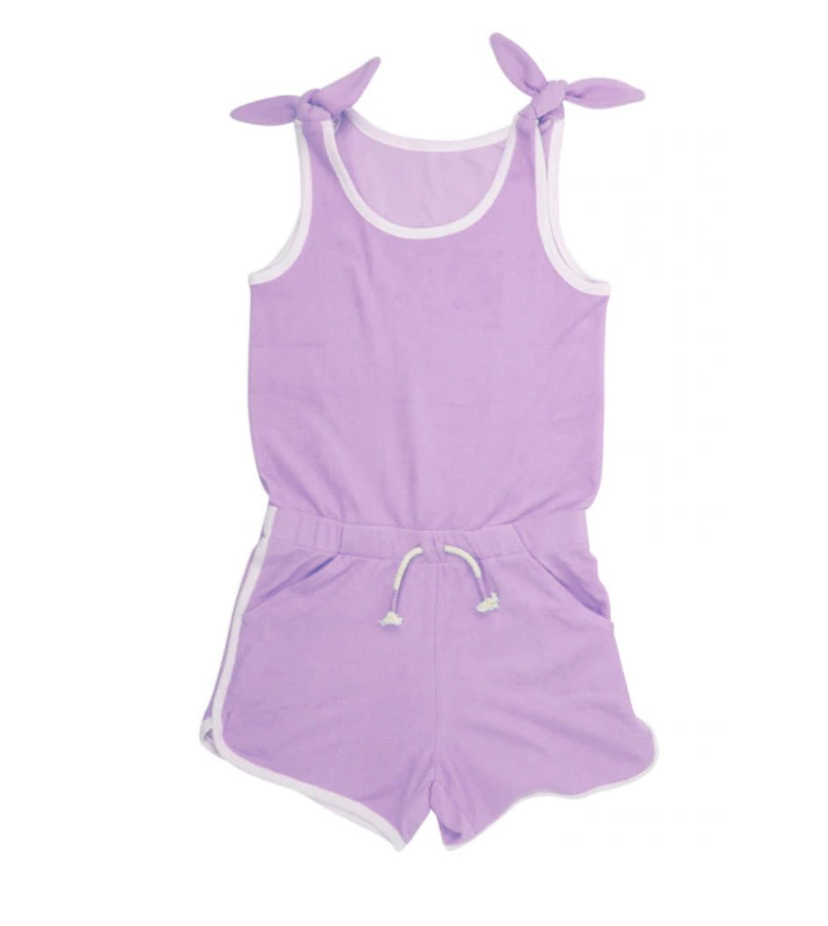 Terry Romper in Purple  - Doodlebug's Children's Boutique