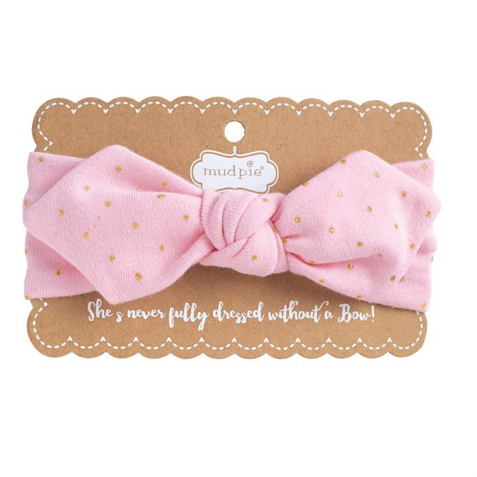 Pink and Gold Knotted Bow Headband Pink/Gold - Doodlebug's Children's Boutique