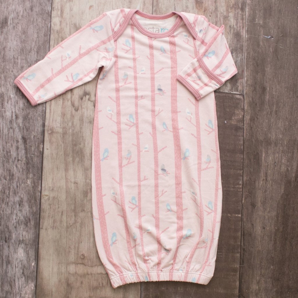 Pink Tree Birds Overlap Gown Pink Tree Birds / 0-3 months - Doodlebug's Children's Boutique