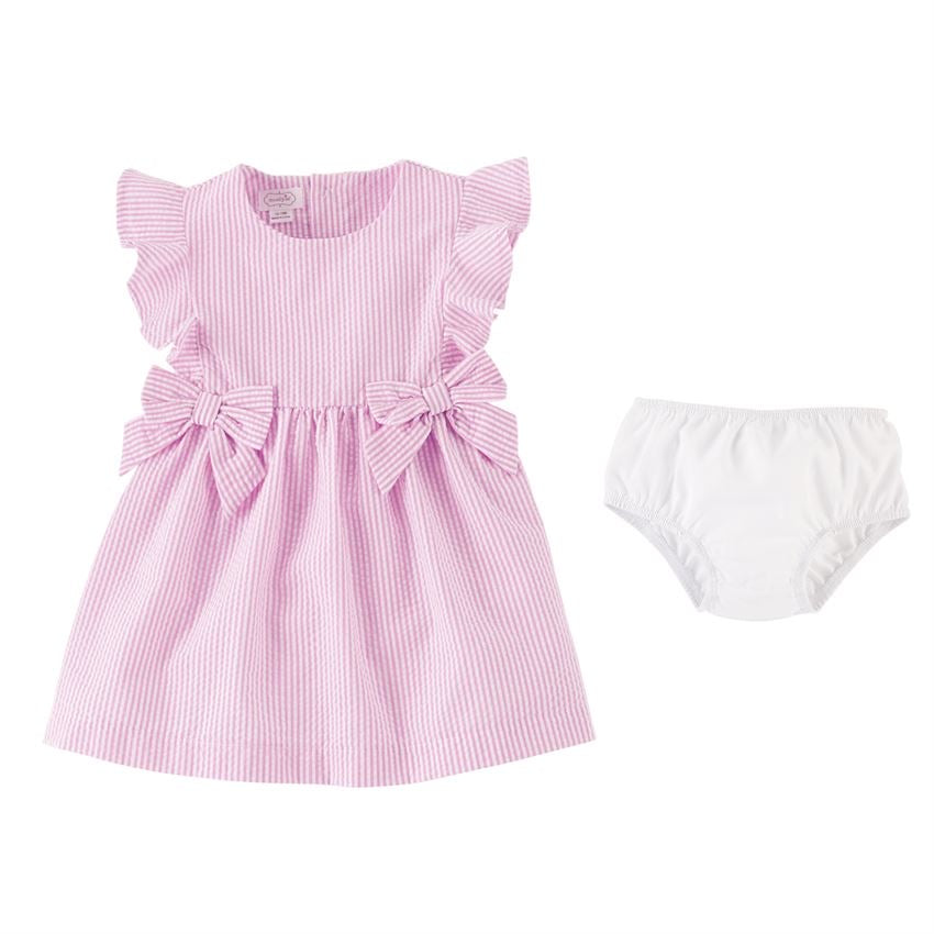 Pink Seersucker Dress  - Doodlebug's Children's Boutique