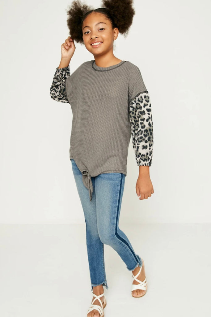 Charcoal Leopard Knotted Top  - Doodlebug's Children's Boutique