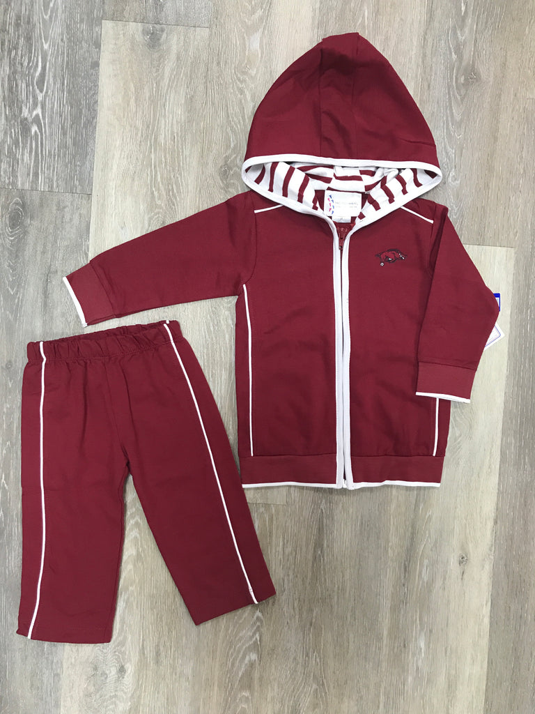 Arkansas Razorback Hooded Jacket Set Crimson / 2T - Doodlebug's Children's Boutique