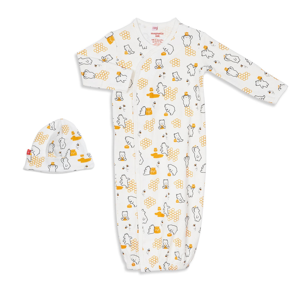 Honey Be Mine Magnetic Organic Gown and Hat Set Honey Bee Mine / NB-3m - Doodlebug's Children's Boutique
