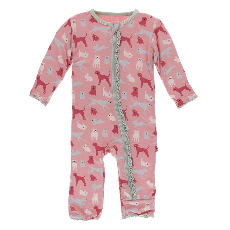 Print Muffin Ruffle Coverall with Zipper in Strawberry Domestic Animals  - Doodlebug's Children's Boutique
