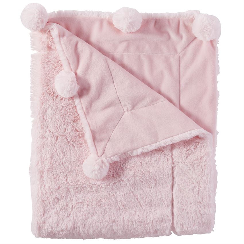 Pink Plush Pom Pom Blanket  - Doodlebug's Children's Boutique