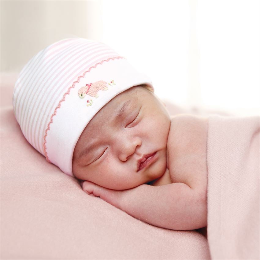 Pink Stripe French Knot Lamb Cap  - Doodlebug's Children's Boutique