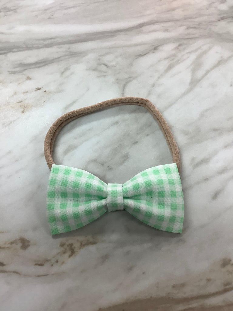 Bow on Nylon in Green Gingham  - Doodlebug's Children's Boutique