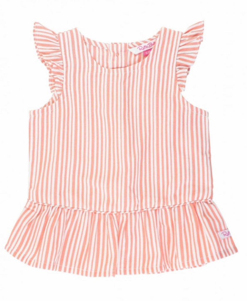 Coral Stripe Peplum Top  - Doodlebug's Children's Boutique
