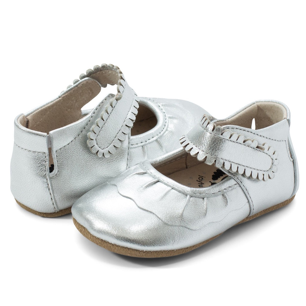 Ruche Baby Shoes in Silver Metallic  - Doodlebug's Children's Boutique