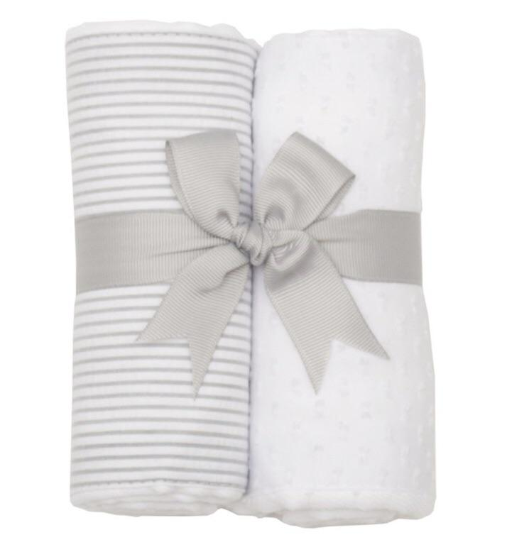 Grey Stripe and White 2 Pack Burp Pad Set  - Doodlebug's Children's Boutique