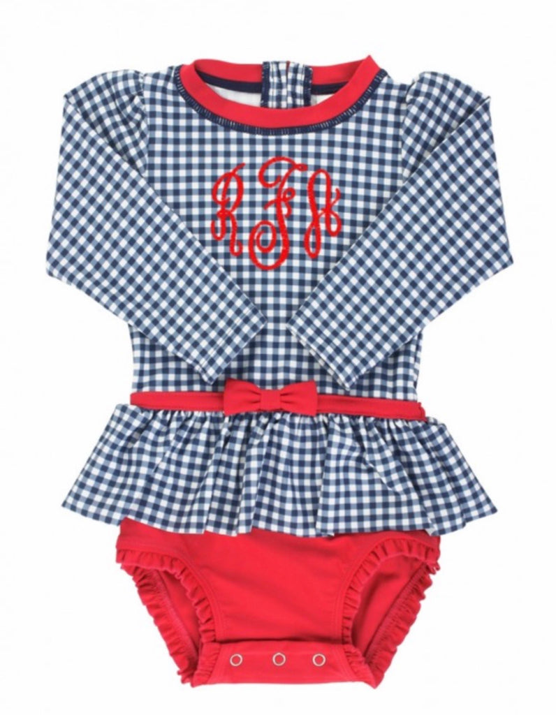 Skirted One-Piece Rash Guard in Navy and Red  - Doodlebug's Children's Boutique
