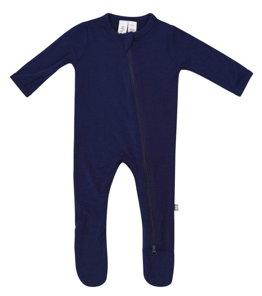 Zippered Footie in Navy 3-6 months - Doodlebug's Children's Boutique