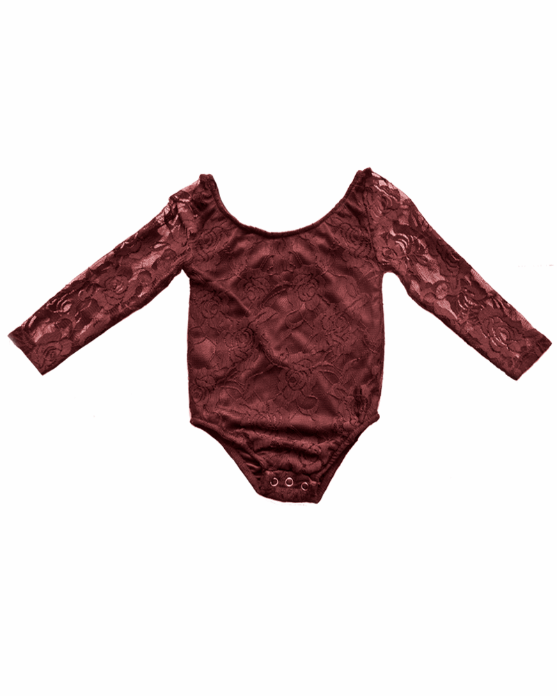 Bailey's Blossoms Wine Lace Leotard  - Doodlebug's Children's Boutique