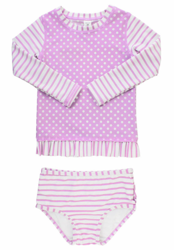 Ruffle Butts Lilac Striped Long Sleeve Rash Guard Bikini