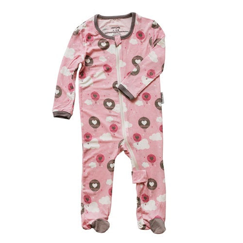 Pink Cloud Air Balloon Lil Dream Printed Footie Pink Cloud Air Balloon / 0-3m - Doodlebug's Children's Boutique