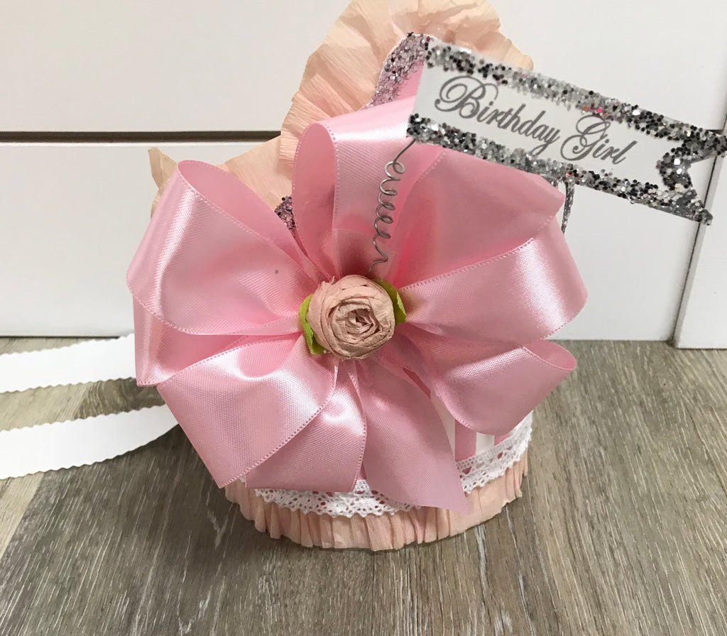 Doodlebugs Birthday Girl Crown Pink Stripes w/Pink Bow - Doodlebug's Children's Boutique