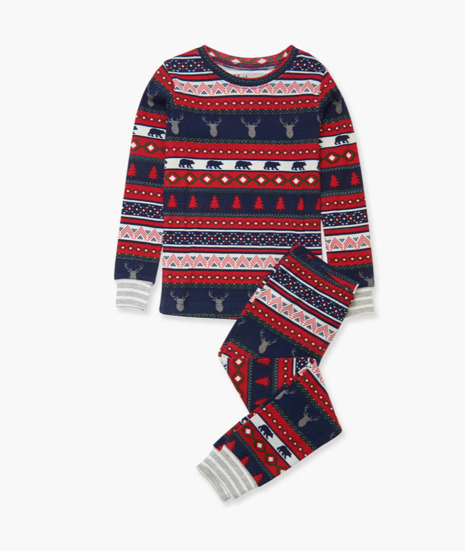 Fair Isle Stags Organic Cotton Pajama Set  - Doodlebug's Children's Boutique
