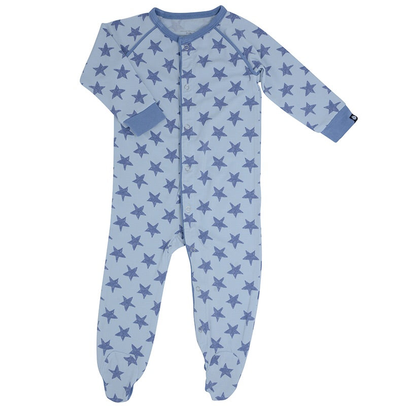 Sweet Bamboo Piped Footie Scribble Stars / Newborn - Doodlebug's Children's Boutique