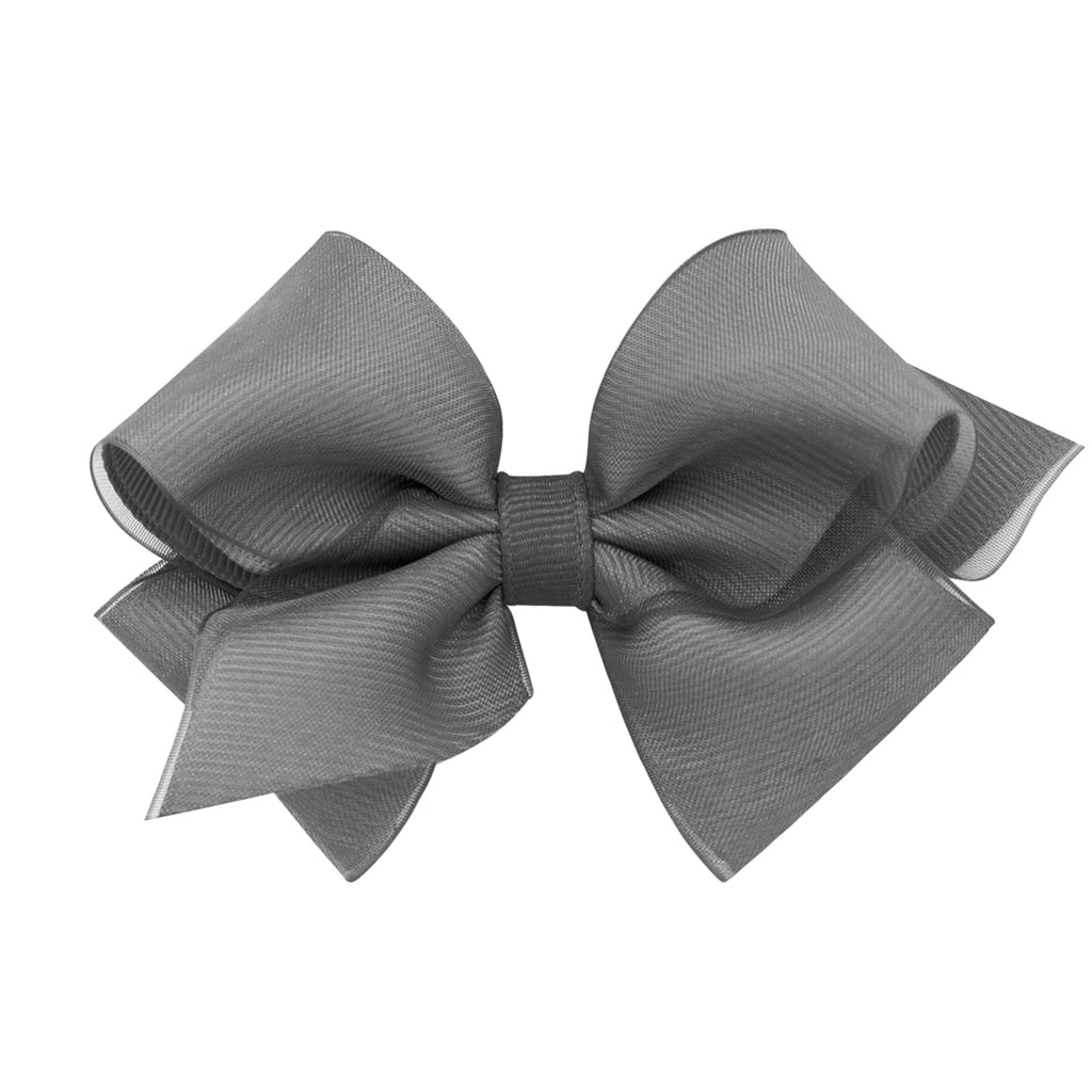 Pewter Extra Small Organza Overlay Bow Pewter - Doodlebug's Children's Boutique