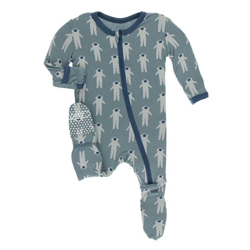 Print Footie with Zipper in Dusty Sky Astronaut  - Doodlebug's Children's Boutique