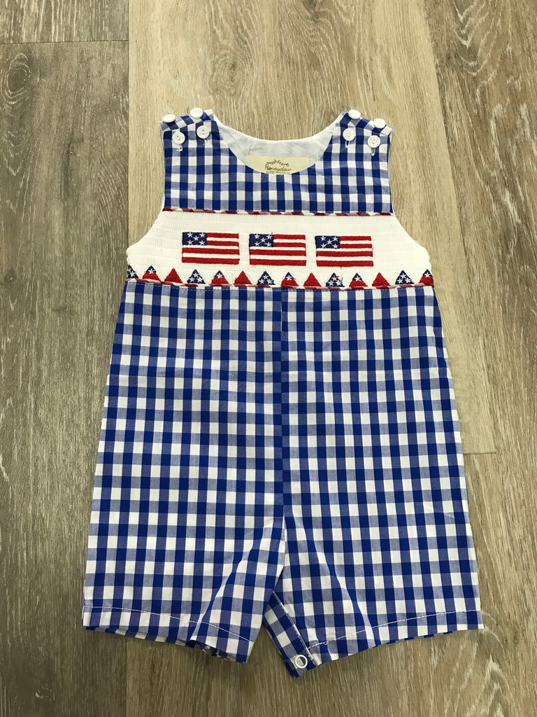American Flag Smocked Jon Jon  - Doodlebug's Children's Boutique