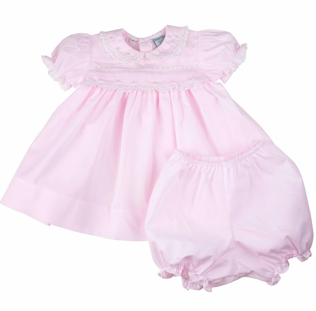 Lace Trim Dress in Pink Pink / 3 months - Doodlebug's Children's Boutique