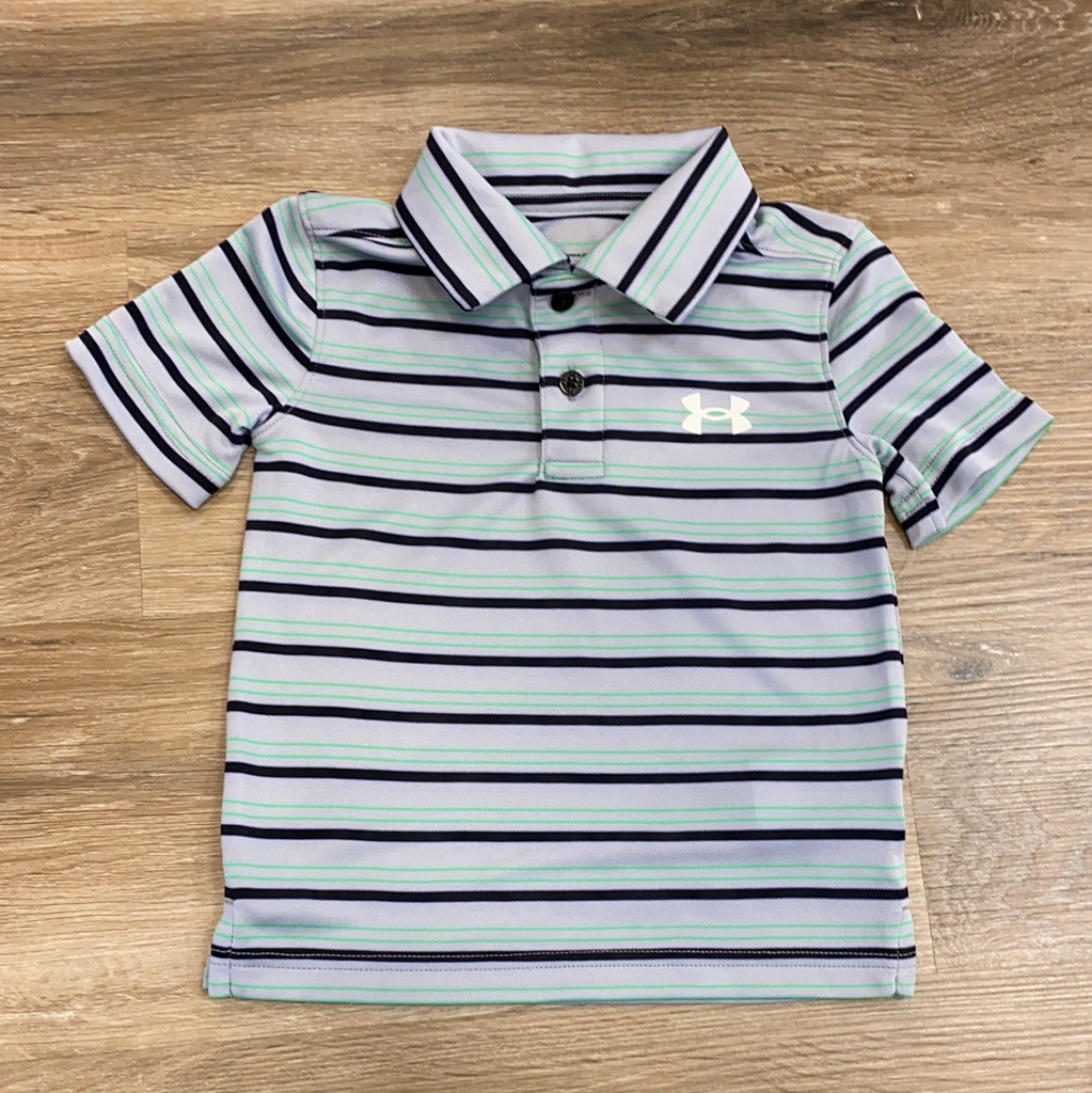 Performance Polo in Mod Gray and Green Stripe  - Doodlebug's Children's Boutique