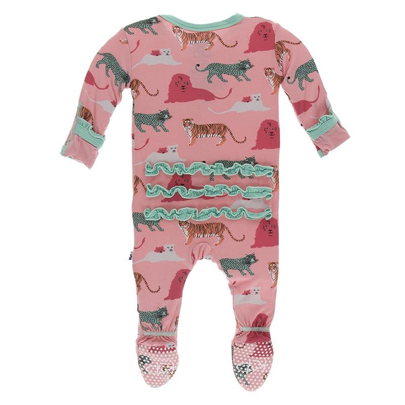 Print Muffin Ruffle Footie with Zipper in Strawberry Big Cats  - Doodlebug's Children's Boutique