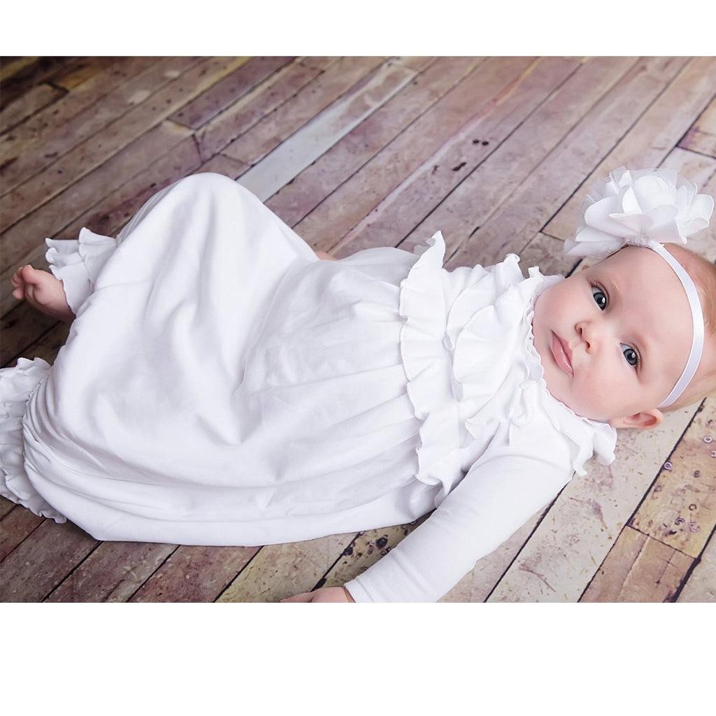 Jenna Gown in White  - Doodlebug's Children's Boutique