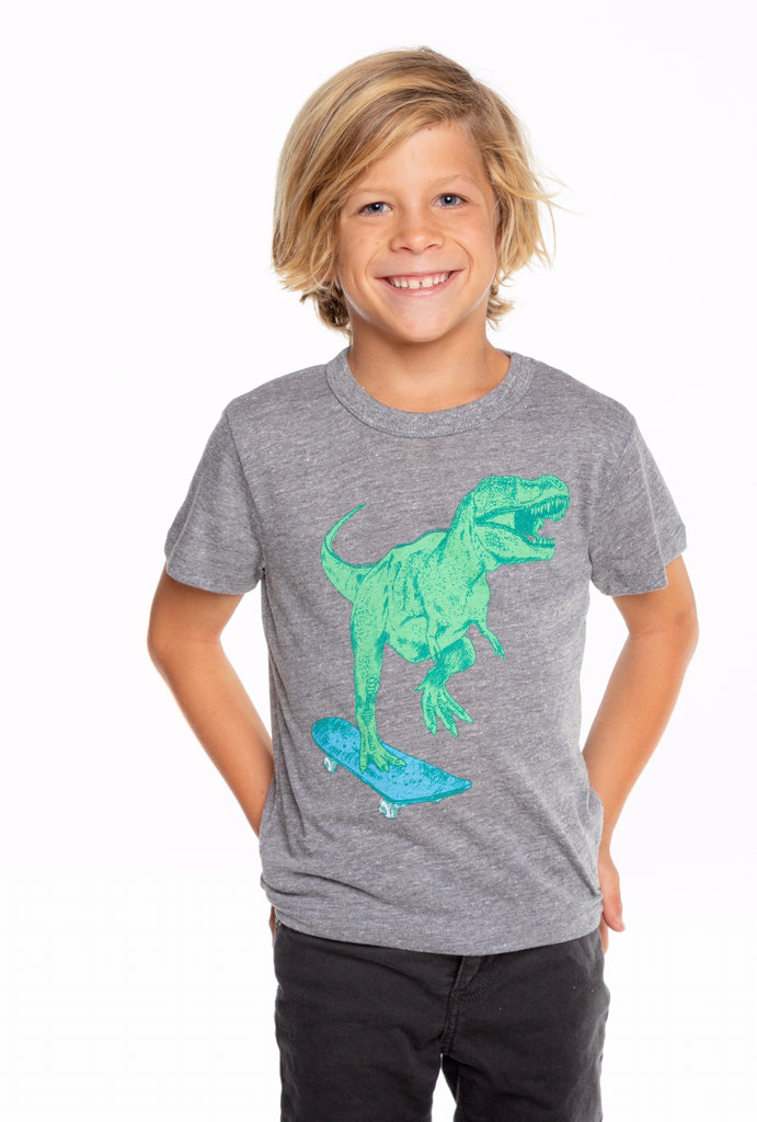 Dino Triblend Short Sleeve Crew Neck Tee  - Doodlebug's Children's Boutique