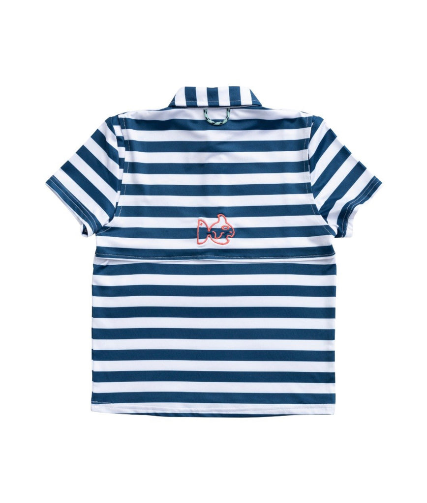 Performance Polo in Blueberry Stripe  - Doodlebug's Children's Boutique