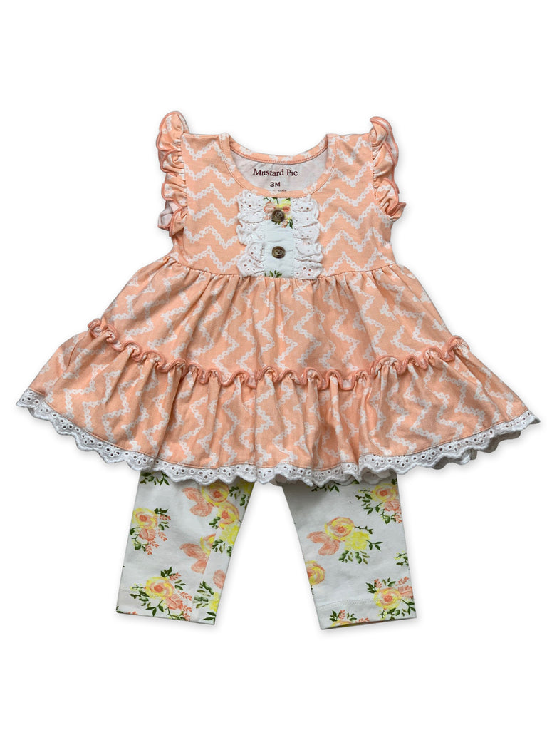 Lucy Dress Set in Honey Blossom 3 months - Doodlebug's Children's Boutique