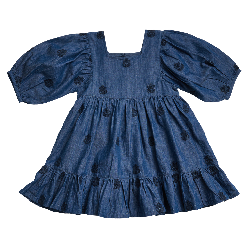 Leena Dress in Chambray with Embroidery  - Doodlebug's Children's Boutique