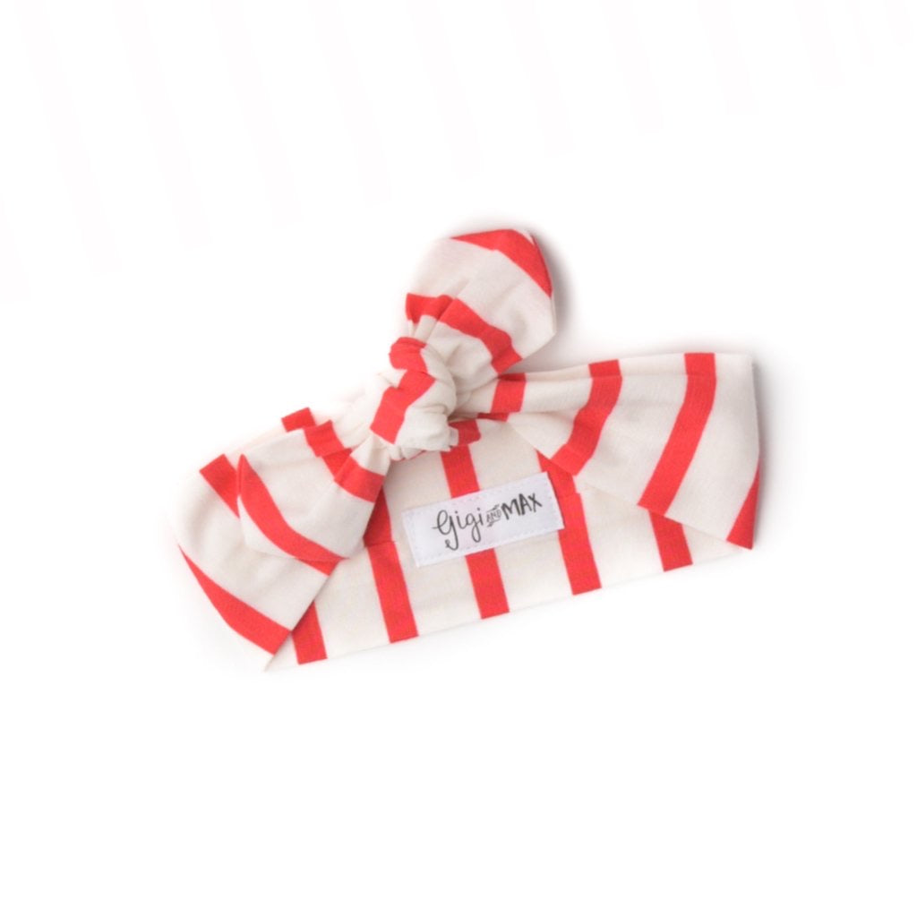 Coral and White Stripe Headband  - Doodlebug's Children's Boutique