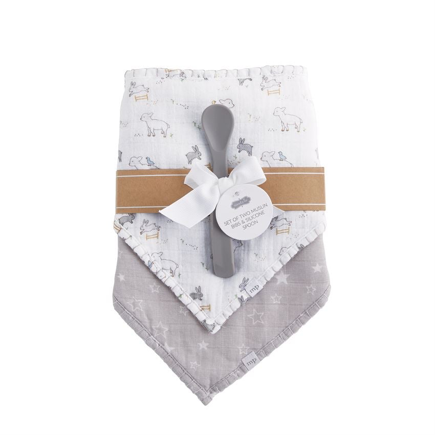 Lamb Bibs and Spoon Set  - Doodlebug's Children's Boutique