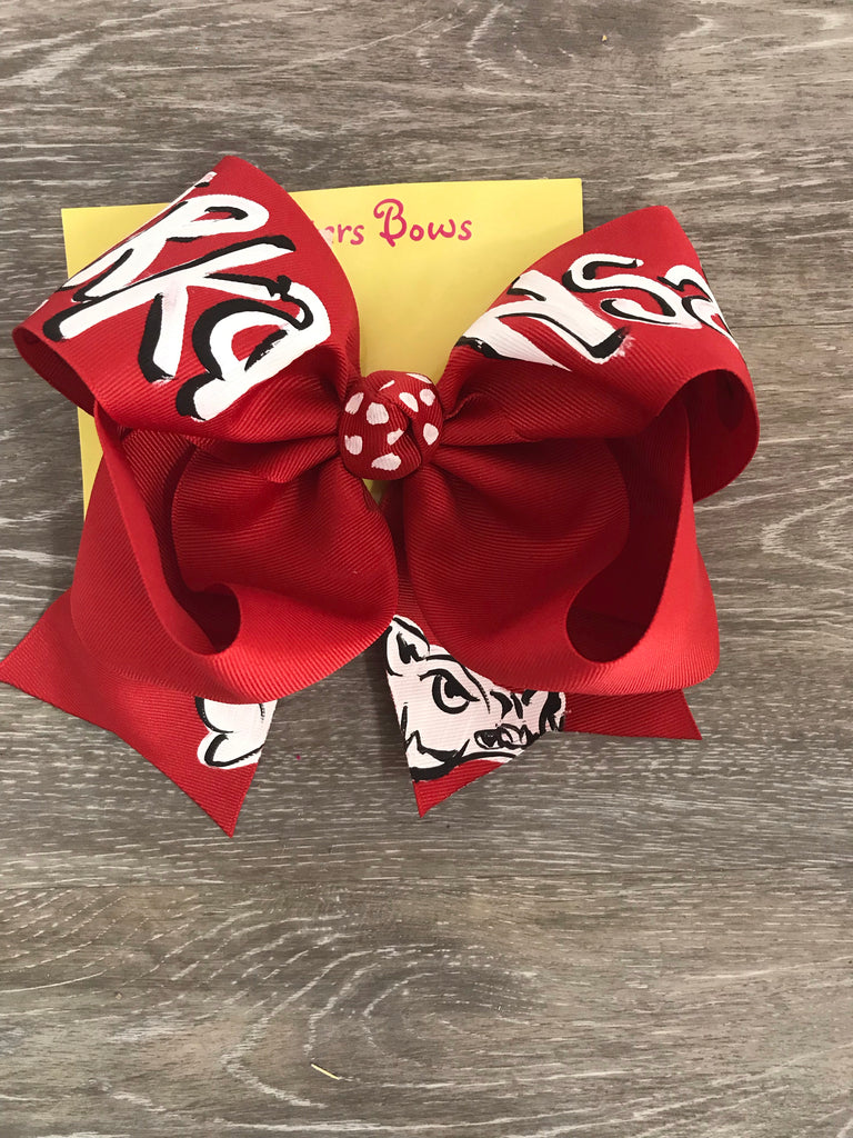 "Two Sisters Bow 8"" / Red Arkanasas - Doodlebug's Children's Boutique"